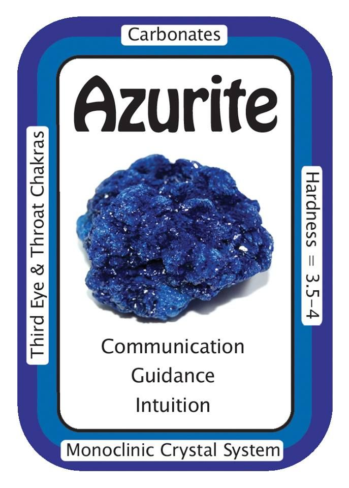 """Azurite, """"I am open to guidance from the Universe.""""  Azurite is a lovely Third Eye Chakra stone, awakening psychic abilities and helping the user to recognize intuition and spiritual guidance when it occurs.   Helpful in relieving worries, phobias, and nagging negative thoughts, Azurite also helps one to recognize the areas in life needing attention.   Code HCPIN10 = 10% off  www.healingcrystals.com/advanced_search_result.php?dropdown=Search+Products...&keywords=azurite"""