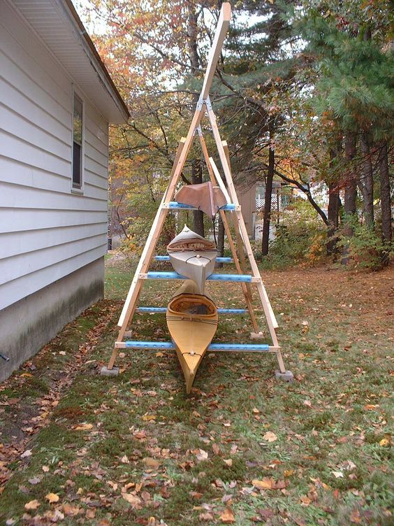 Storage option:  End view of A-frame kayak rack, showing the capacity
