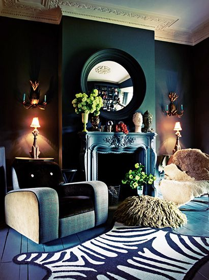 The Best Style Lessons 12 Top Designers Learned From Mom // Mother's Day, Abigail Ahern, living room by @Abigail AhernDreams Home, Fireplaces Mantels, The Queens, Abigailahern, Interiors Design, Living Room, Line Design, Dark Wall, Abigail Ahern
