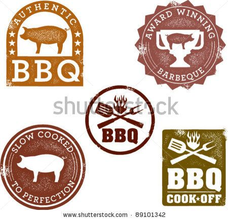 Vintage Style BBQ Stamps by squarelogo, via Shutterstock