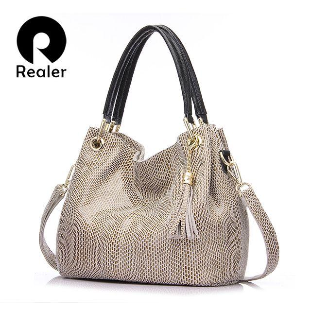 Big Deals $39.24, Buy Realer woman handbag genuine leather brand bag female hobos shoulder bags high quality leather totes women messenger bag