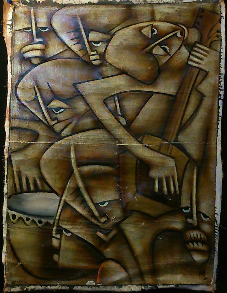 signé MS ?? CUBISME ANCIEN VISAGES AFRICAINS Huile sur Toile Vintage (CANNES)