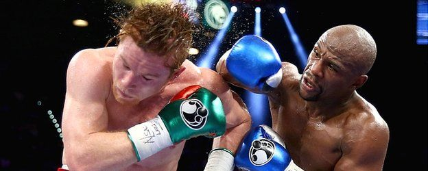 """In Vegas Baby ! (age 23) Saul Alvarez , Guadalajara, Mexico Weight: 153 lbs (70 kg)  Height: 5' 9"""" (1.75 m) Nationality: Mexican Stance: Orthodox stance, Floyd Mayweather knot that ass all the way back to Mexico, 13 years older then Alvarez.  read more @ https://www.facebook.com/photo.php?fbid=527371280680685&set=a.105343276216823.11630.100002234540944&type=1&theater&notif_t=photo_comment"""