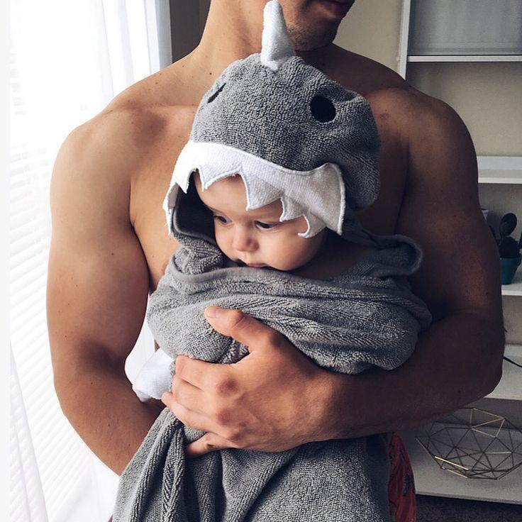Little shark man with his Papa Bear
