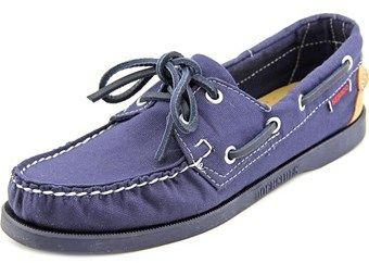 Sebago Spinnaker Women Moc Toe Canvas Blue Boat Shoe.