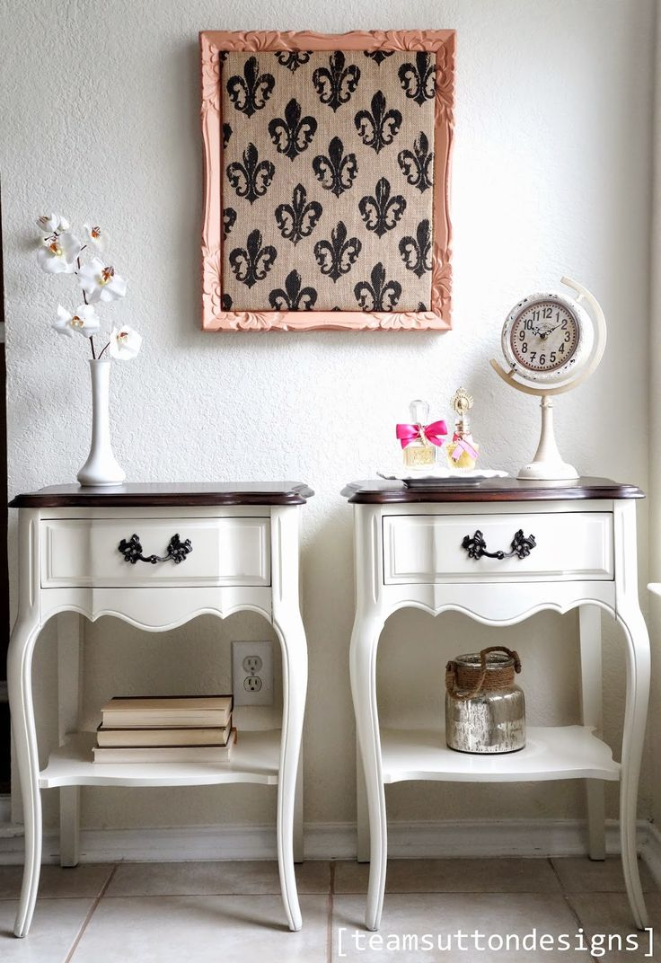 Take a look at these pretty petite bedside tables!         I rescued these beauties from a Craigslist seller looking to even up with their ...