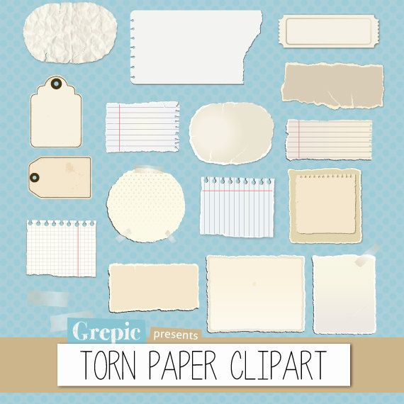 Torn paper clipart pack: torn pieces of paper and worn out post-it notes from old notebooks for scrapbooking, card making, invites