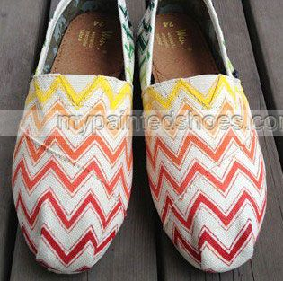 Gradient Chevron Chevron New Style Chevron Shoes Slip-on Painted,Slip-on Painted Canvas Shoes