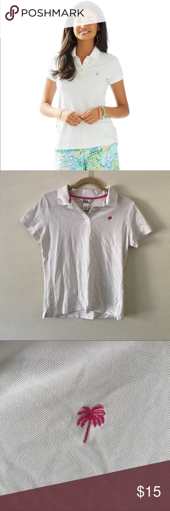 Lilly Pulitzer Island Polo Shirt A gently used white island polo shirt by Lilly Pulitzer in a size large. As showed above in picture 7 there are minor light marks on the back under the collar. Style#33721  ✨ Ask me about free shipping! 💕 Always ships within 2 business day 🚫 I do not trade Lilly Pulitzer Tops Button Down Shirts
