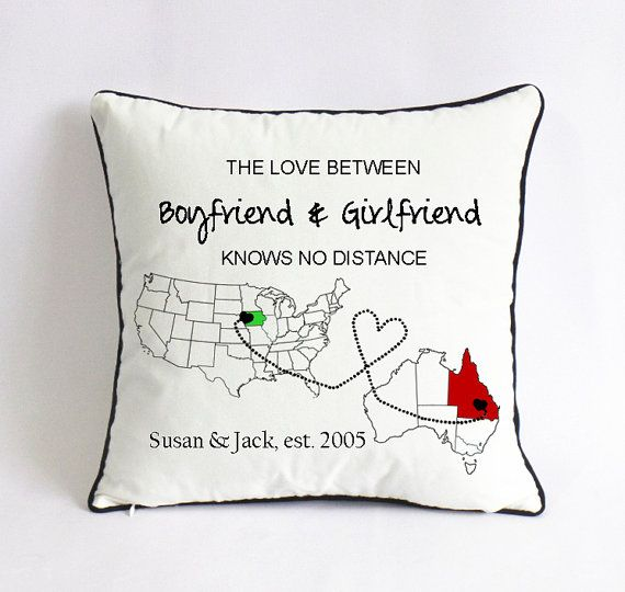 Cute Long Distance Pillow Cases : Long distance girlfriend pillow case-map outline cushion-birthday gift for boyfriend-the love ...