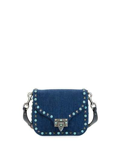 VALENTINO ROCKSTUD ROLLING SMALL DENIM GUITAR-STRAP CROSSBODY BAG, DENIM/MULTI. #valentino #bags #shoulder bags #leather #denim #crossbody #