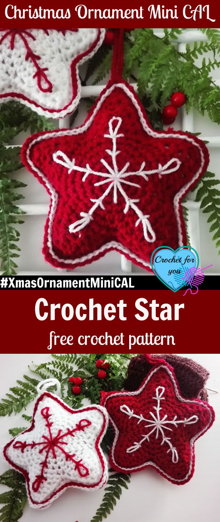 Christmas Ornament Mini CAL – Christmas Crochet Star  #xmasornamentminical
