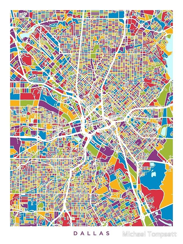 Dallas Texas City Map\' Photographic Print by Michael Tompsett ...