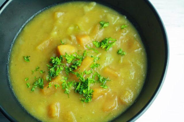 Krémová pórková polévka s batáty   http://www.veseleboruvky.cz/2013/10/kremova-porkova-polevka-s-bataty.html