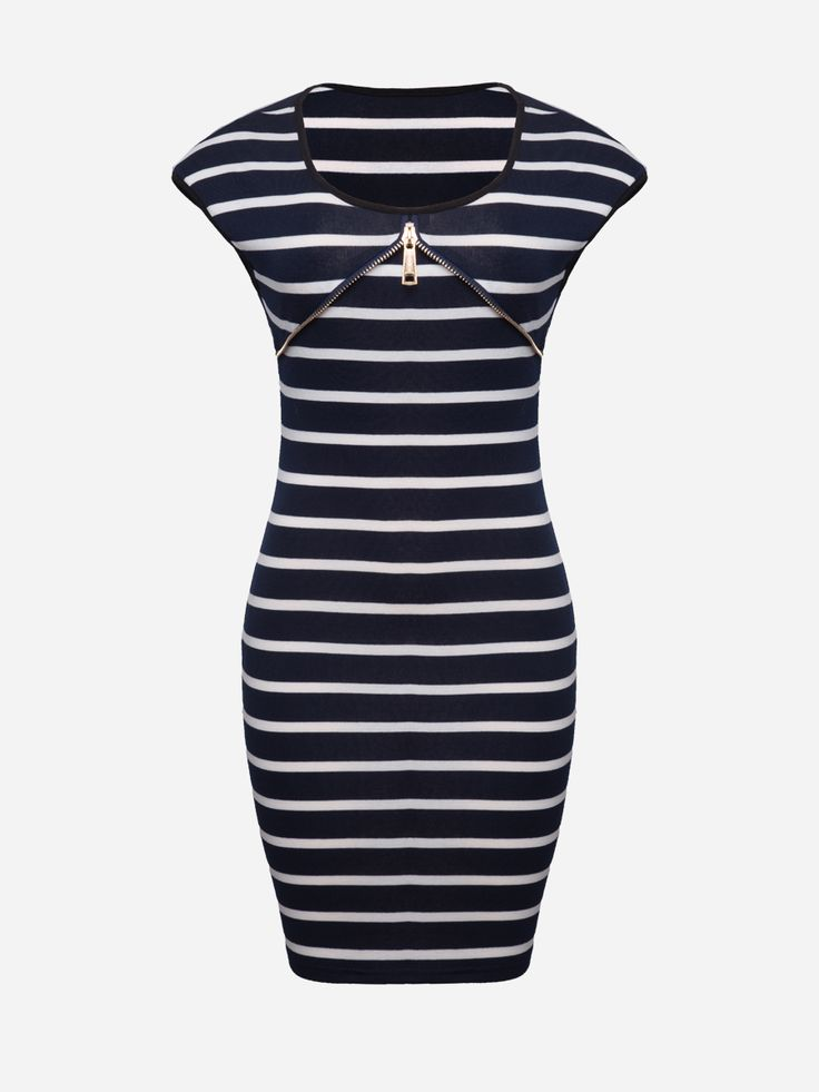 Round Neck Zips Striped Bodycon Dress