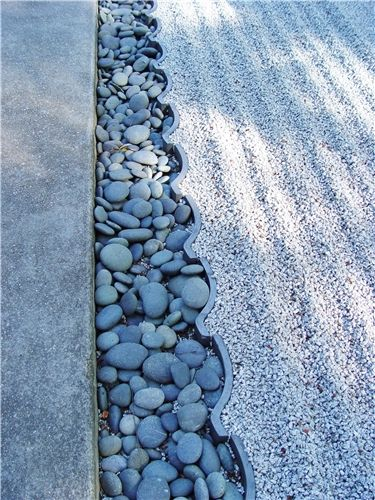 Decorative Gravel. Zen Garden border transition to lawn.