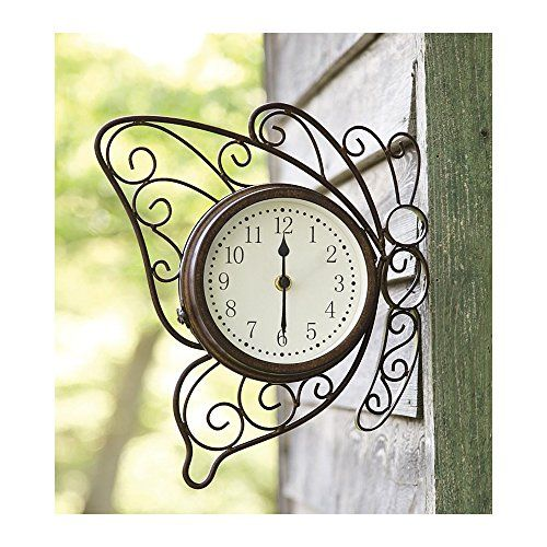 a functional indoor or outdoor accent our doublesided metal butterfly clock with temperature is