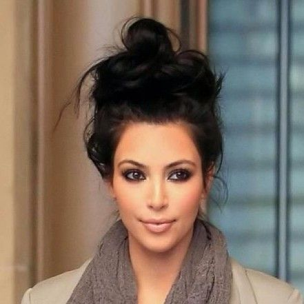 ... Cute Messy Bun - Kim kardashian, Cute buns and Cute messy buns