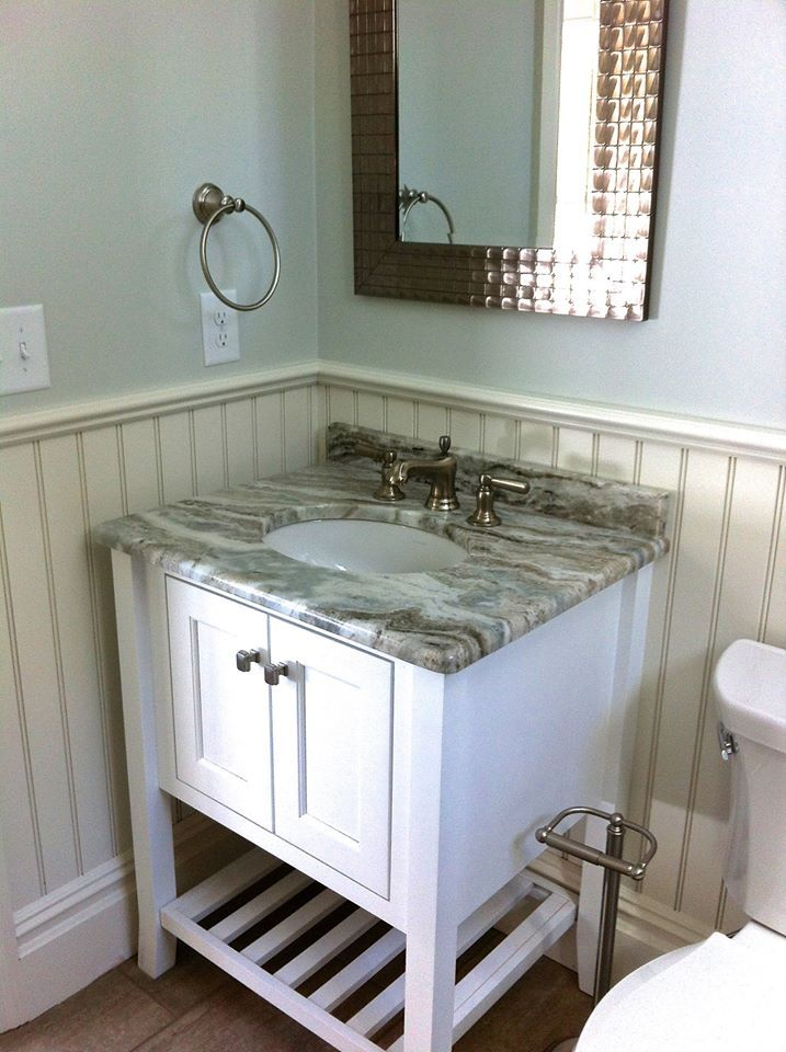 Picture Collection Website  Hudson Alpine White Versiniti vanity paired with a Fantasy Brown countertop and
