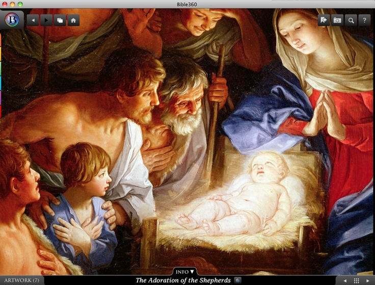 The Adoration of the Shepherds. Bible360 is a free interactive socially-enabled app that brings the scripture to life through video, photos, maps, virtual tours, reading plans and more! Download it for FREE, www.bible360.com