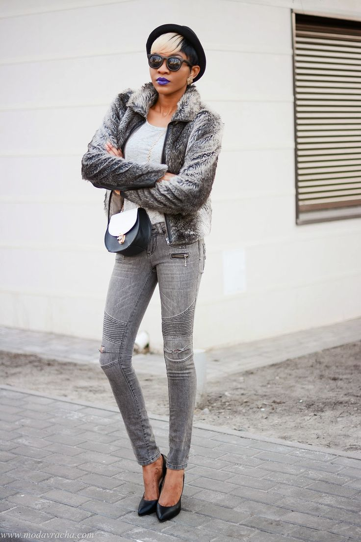 Fashion and Style Blogger Modavracha purple lipstick and grey outfit.