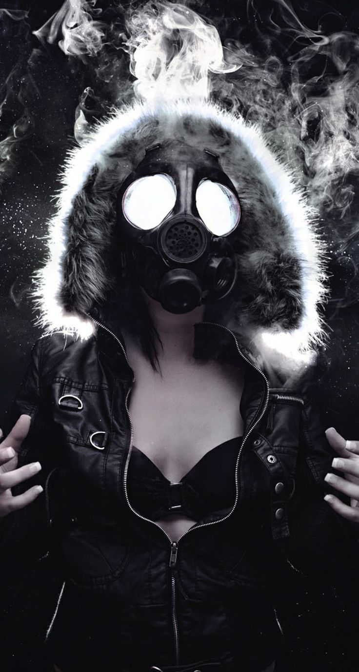 Sexy girl with gas mask