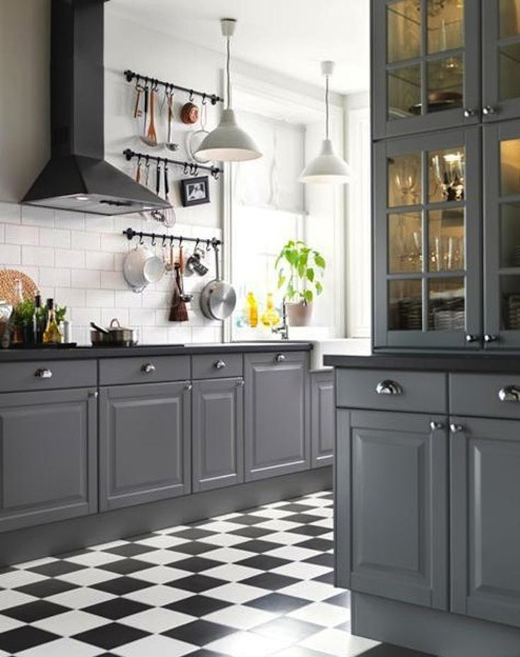 15 Stunning Gray Kitchens Best 25  Checkered floor kitchen ideas on Pinterest Black and