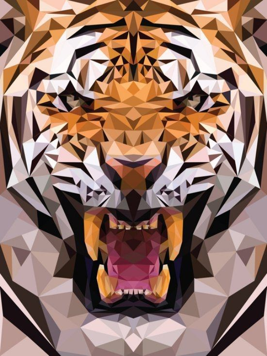 """Geometric tiger made from triangles[.]"" Photo from Imgur."