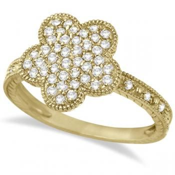 Five-Leaf Clover Shaped Diamond Right Hand Ring 14k Yellow Gold (0.50ct) - Allurez.com