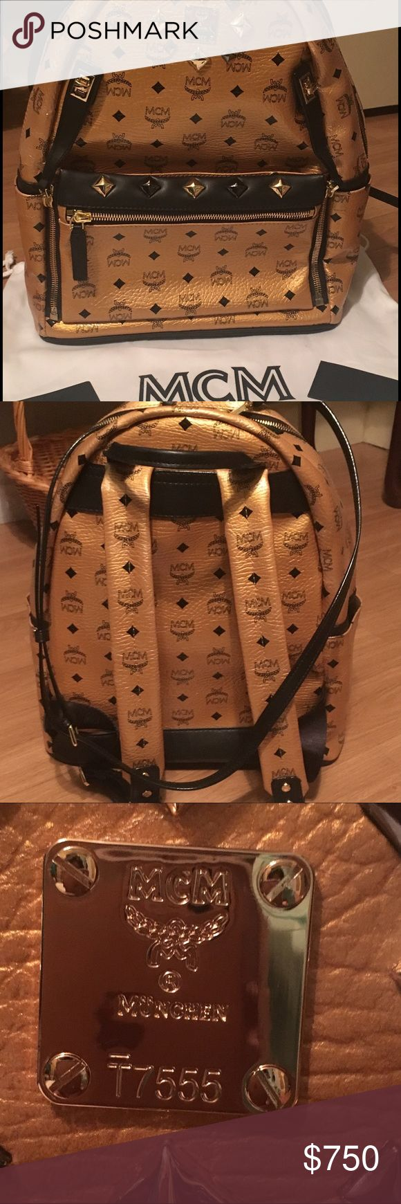 NWT MCM Backpack Authentic MCM cognac large backpack. Has detachable pouch on the front and long detachable strap. Never used.  Comes with dust bag and authenticity card. MCM Bags Backpacks