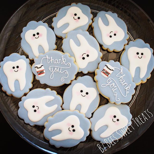 Happy little teeth cookies to thank a dentist for an emergency Saturday extraction  dentist, dentist cookies, dental cookies, thank you, custom cookies
