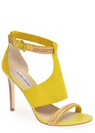 ❤ SHOES yellow suede sandal heels