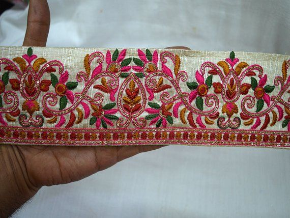 Wholesale Decorative Beige Fabric Trims Multicolor Embroidered Sewing Trim By 9 Yard Indian Sari Border C Fabric Trim Sewing Trim Dupioni Silk Fabric