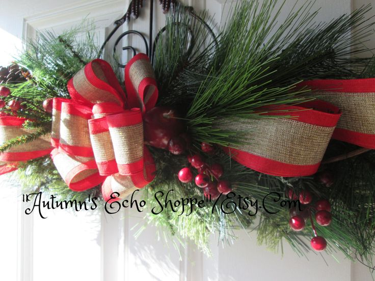 RUSTIC CHRISTMAS SWAG Christmas Door Decor Wreath Center Piece Mantle