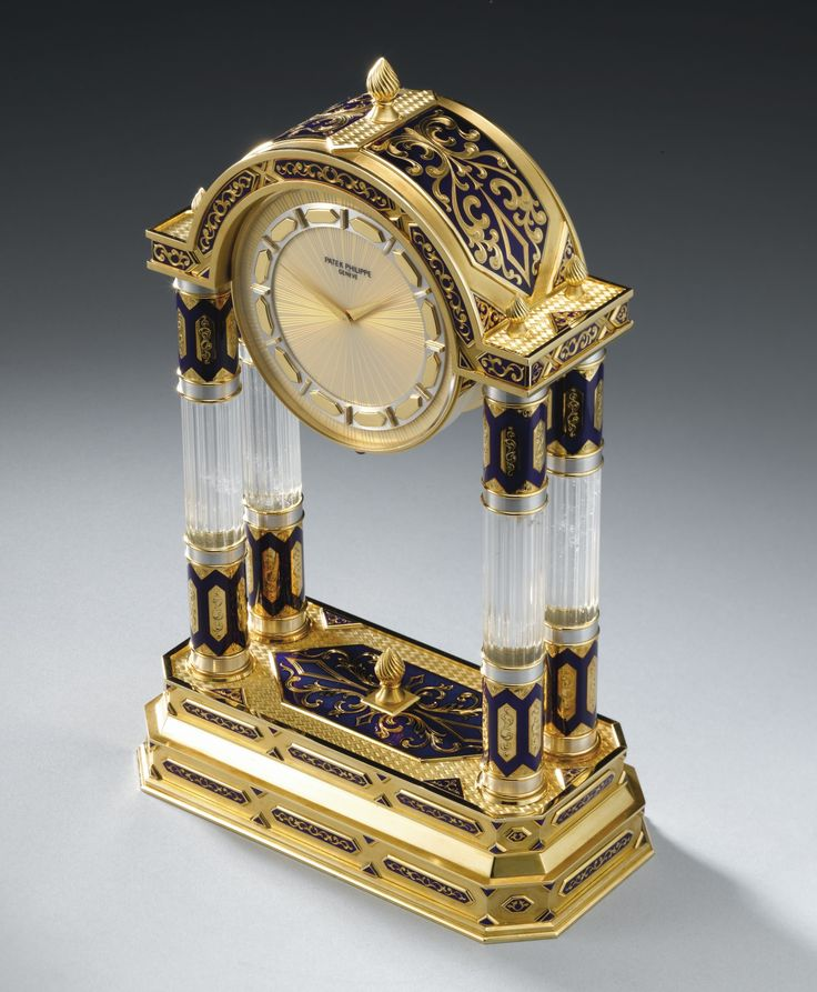 "PATEK PHILIPPE ""ROCK CRYSTAL AND ENAMEL PALACE CLOCK"" A SUPERB NEO-CLASSICAL STYLE YELLOW GOLD, SILVER, DIAMOND, ROCK CRYSTAL AND CHAMPLEVÉ ENAMEL FOUR COLUMN MANTEL CLOCK MADE IN 1991 REF 2039 MVT 8460 CASE 2858029"