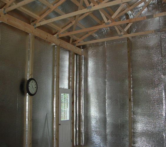 Finished Pole Barn Foil Insulation In Gable Roof And