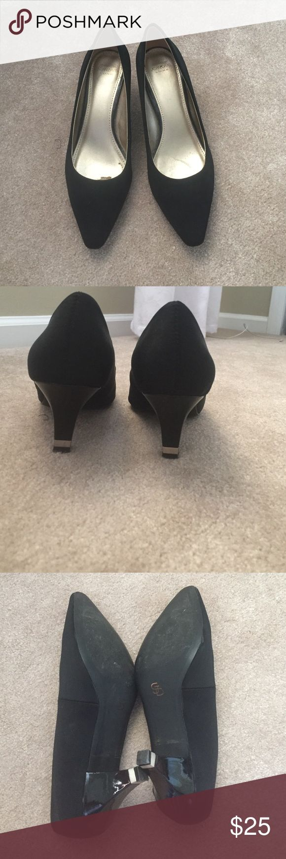 Black Nylon Heels Black nylon heels in great condition! 3 inch heel. Only worn twice. Joan & David Shoes Heels
