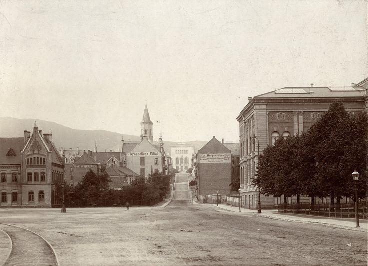Christies gate mot Bergens Museum - tidlig 1900-tall. Gamle jernbanestasjon til venstre. Bak trærne skimtes taket til Frøysethmarkens våningshus. Permanenten til høyre. Foto: Mittet & Co. - Riksantikvaren.