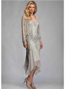 145.59 Beformal.com.au SUPPLIES Fashion A-Line Asymmetry V-Neck Beading Mother Of The Bride Dress