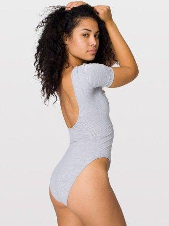 Cotton Spandex Jersey Short Sleeve T-Shirt Leotard | Short Sleeves | Womens Bodysuits & Rompers | American Apparel