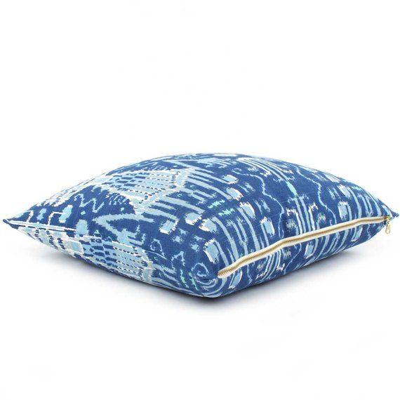 Best Cobalt Blue Ikat Pillow Cover 18X18 20X20 22X22 400 x 300