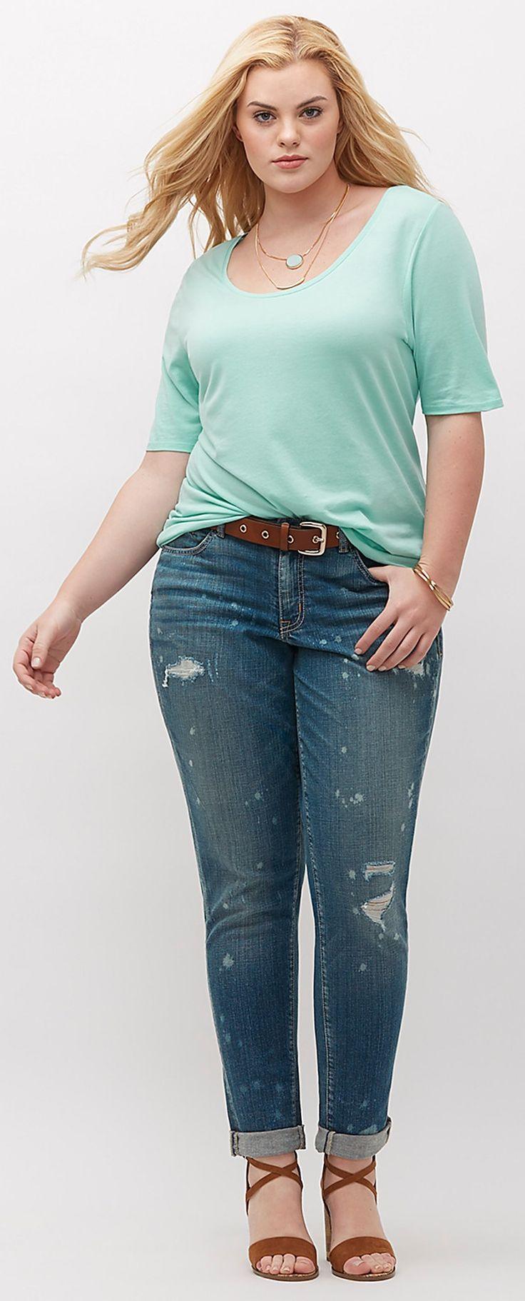 Plus Size Destructed Boyfriend Jeans