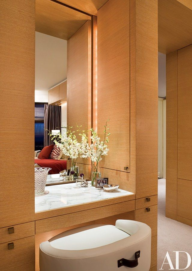 """""""For the vanity, our intention was to provide a chic and intimate dressing table with a jaunty nod to the nautical,"""" says Dineen 