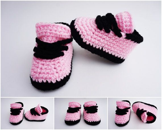 Crochet Baby Shoes Nike Style Crochet Sneakers Girls Sneakers Pink Black Girls…