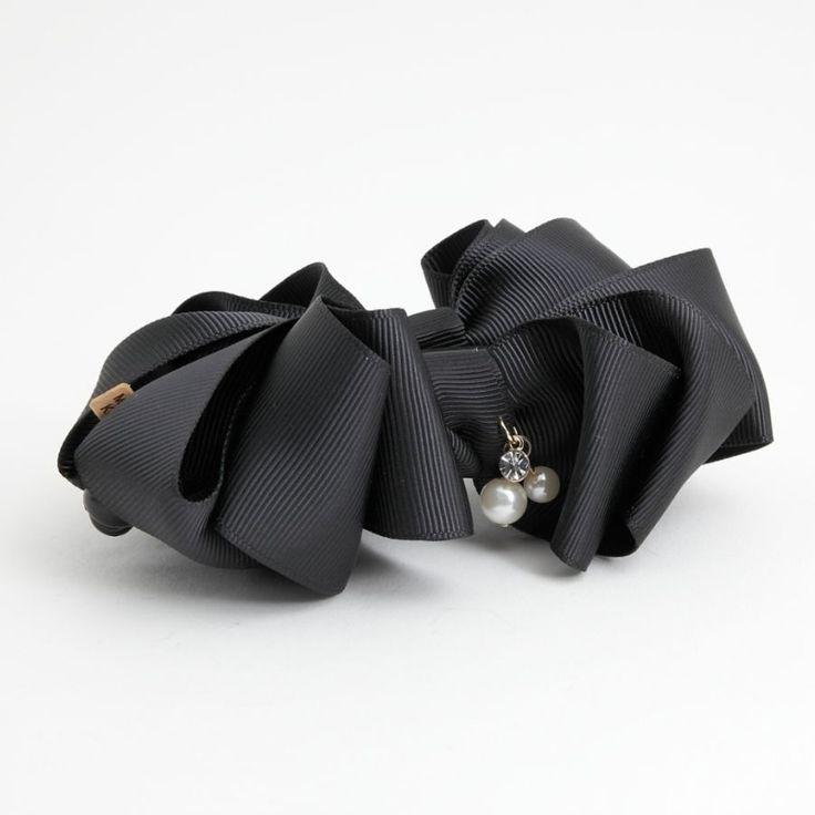 Handmade Ribbon Strap Bow Fabric Flower Banana Hair Clip  Accessories #Handmade