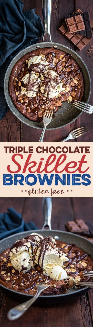 Quick, easy and unbelievably delicious skillet brownies - and they are gluten free too! The perfect dessert, meant for sharing.