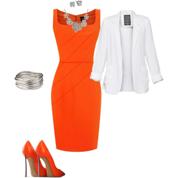 .Career Outfit, Interview Dresses, White Blazers, Clothing, Orange Outfit Ideas, Bright Orange, Work Outfit Orange Dresses, Work Dresses, Career Dresses