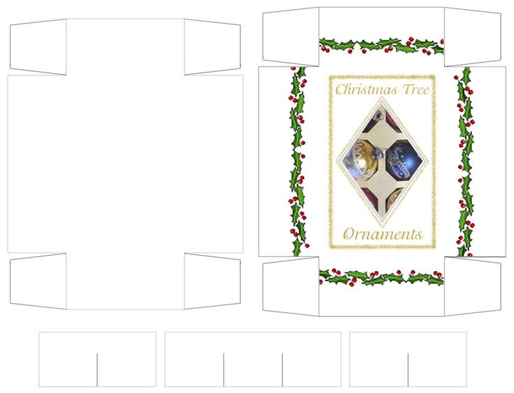 Three different types of Miniature Christmas Ornament Boxes - to print out, free of charge.