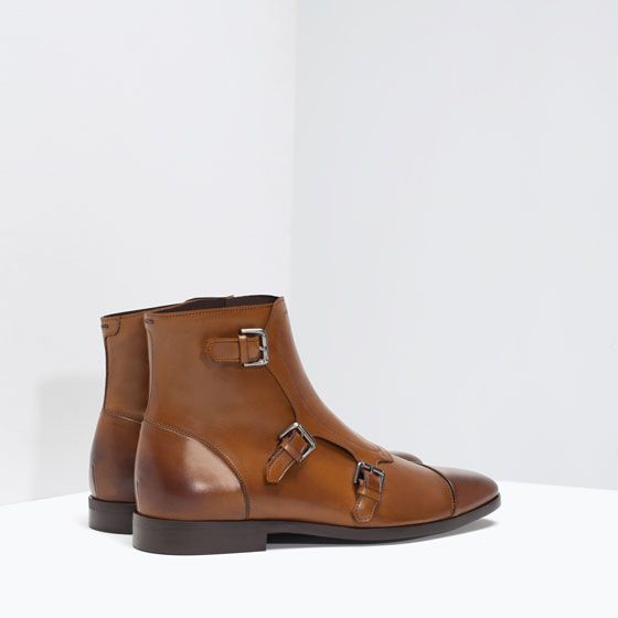 ZARA - MAN - LEATHER ANKLE BOOT WITH BUCKLES