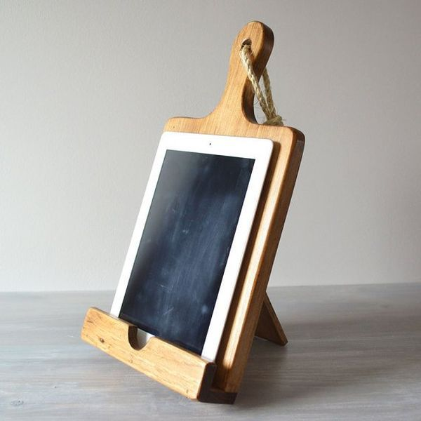 For the chef who follows recipes from her iPad - this cutting board, turned into iPad holder, is great!
